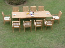 "Giva A-Grade Teak 11 pc Dining 117"" Rectangle Table Arm Chair Set Outdoor Garden"
