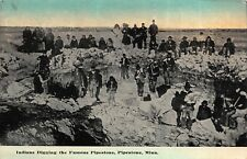 Postcard Indians digging the famous Pipestone in Pipestone, Minnesota~117398