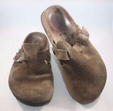 Betula Birkenstock Mocha Suede Leather Boston Clogs Regular Footbed 245 38 sz 7