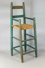 A NICE 18TH C CHILD'S 2 SLAT LADDERBACK ARMCHAIR HIGHCHAIR OLD TEAL BLUE PAINT