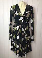 Olian Maternity M Dress Black Green V Neck Long Bell Sleeve Tie Waist Empire