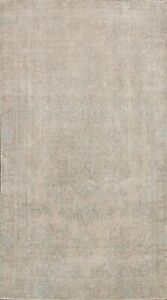 Distressed Muted Semi Antique Tebriz Area Rug Hand-knotted Evenly Low Pile 6'x9'