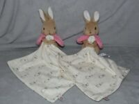 M&S FLOPSY BUNNY COMFORTER SOFT TOY WHITE PINK BLANKIE MARKS AND SPENCER x 2