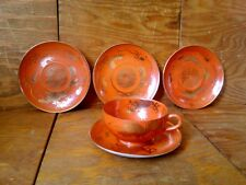 Vtg Oriental Style Handpainted Lot 1 Tea Cup & 4 Plates Orange Gold Dragon Japan