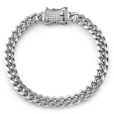8mm Stainless Steel Silver Mens Miami Cuban Bracelet Iced Lock