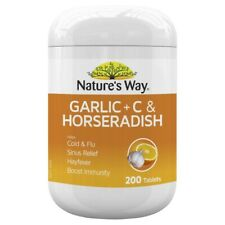 Nature's Way Garlic + C & Horseradish 200 Film Coated Tablets Colds Natures Way