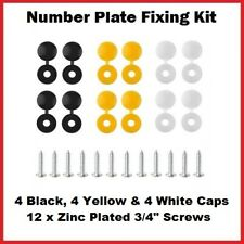 24 Piece Caps and Screws Car Number Plate Fixing Fitting Kit, 3 Assorted Colours
