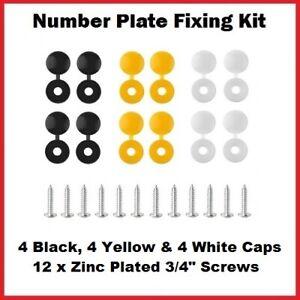 CAR NUMBER PLATE FIXING KIT SCREW & CAPS 12 BLACK WHITE YELLOW 24 PCS
