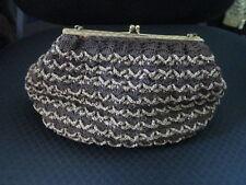 Vintage Brown Crocheted Handbag Gold Accents Frame & Chain Handle Satin Interior