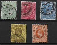 KEVII. Harrison Perf.15x14 Set of 5. Selected VFU. One of Each Value. Ref:04162