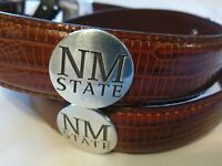 Men's Brown Leather Belt with New Mexico State University Conchos Size 34 NL