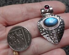 Exceptional Egyptianesque Sterling Silver Blue Fire Labradorite & Garnet Pendant