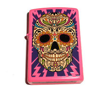 Zippo Sugar Skull with Lighting Bolts Pink Matte Lighter New 2017