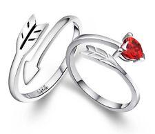 Couple Silver Arrow Of Love Crystal Adjustable Open Wedding Rings Gift Box E21