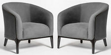 Pair of (2) Aiden Accent Club Chairs in Plush Charcoal Grey with Ebony Wood Trim