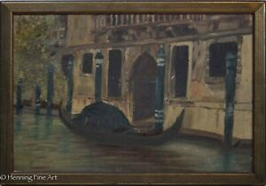 Antique Oil Painting of Venice, Italy Canal Scene with Gondola Unsigned & Framed