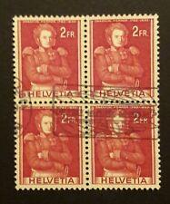 Schweiz 1959 Forrer 2 Fr. Viererblock gestempelt Zst. 342
