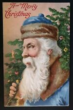 Exceptional Rare~Blue Robe~Santa Claus Antique Embossed Christmas Postcard-a451