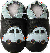 carozoo car black 6-12m soft sole leather baby shoes