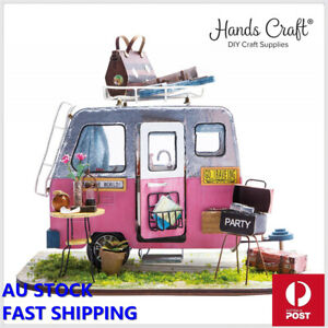 DIY Happy Camper with Furniture Children Adult Miniature Wooden Doll House Model