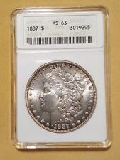 1887 Morgan Silver Dollar $1 US Coin Old ANACS MS-63 UNC