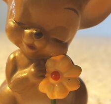 Sweet Josef Originals Baby Girl Mouse w/Flower Figurine Japan w/Sticker Vintage
