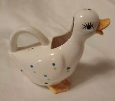 Vintage 1985 Enesco Duck Pitcher White w Polka Dot Pattern Ceramic Pottery Bird