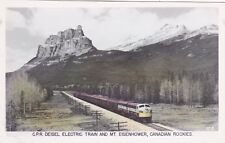 RP:C.P.R. Deisel Electric Train and Mt.Eisenhower,Canadian Rockies,Canada,30-40s