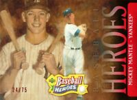 2005 UPPER DECK BASEBALL HEROES #165 - MICKEY MANTLE - RED PARALLEL SP/UD #24/75