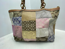 COACH Multicolor Leather and Canvas Patchwork Jacquard Tote Shoulder Bag F11711