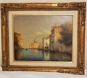 """Antione Bouvard """"Venice Canals"""" Oil on canvas"""