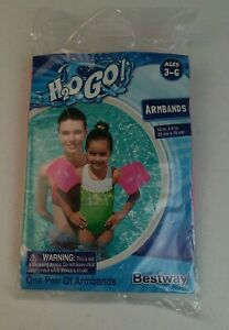 "H2O GO Pink Armbands Floats Rings 10"" in X 6"" in Ages 3-6 Indoor Outdoor Pool"