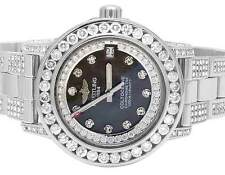 Custom Ladies Breitling Aeromarine Colt Oceane 33 Diamond Watch A77387 10.5 Ct
