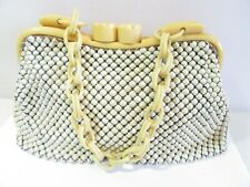 VINTAGE WHITING & DAVIS MESH ENAMEL PURSE BAG CELLULOID LINK CHAIN THICK CLASP
