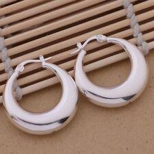 Earrings Half Moon Ladies 925 Sterling Silver Vintage Stylish Casual Hoop Dangle