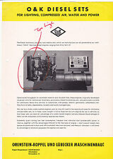 VINTAGE AD SHEET #3121 - O&K DISEL SETS - COMPRESSED AIR WATER POWER