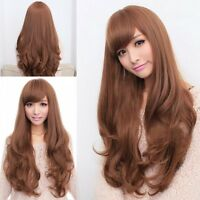 New Sexy Ladies Long Light Brown Curly Wavy Natural Hair Wigs Cosplay / Wig+Cap
