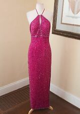 Vintage Scala Pink Silk Beaded Sequin Halter Formal Evening Dress Size M Prom