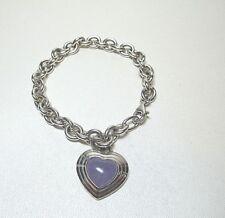 """.925 Sterling Silver 7.75"""" Rolo Link Bracelet w/ Purple Jade Heart  #8854"""