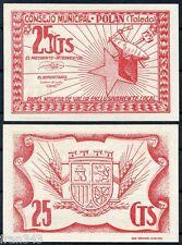 Billete Local CONSEJO MUNICIPAL DE POLAN TOLEDO 25 céntimos 1937 SC / UNC
