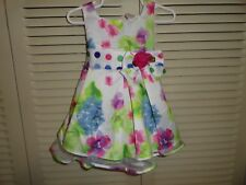 Marc and Maddie baby girl dress, size 6 to 12 mo. pastels on wht. NWOT