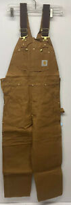 Carhartt Duck Bib Overall Unlined R01 BRN New with Tags