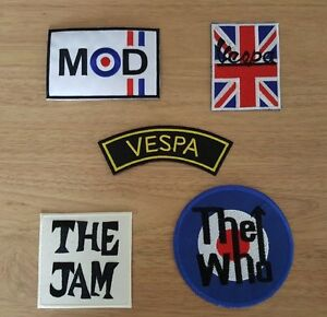 WHOLESALE SET OF FIVE SEW ON / IRON ON PATCHES:- MOD SCOOTER JAM WHO SELECTION A