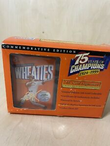1999 WHEATIES 75 YEARS of CHAMPIONS 24K Gold Signature ~ Mark McGwire ~ NIB