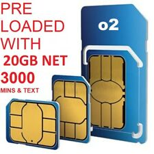 OFFICIAL O2 NETWORK PAY AS YOU GO 02 SIM CARD SEALED PRE-LOADED 20 GB INTERNET