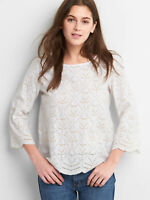 GAP Women's Eyelet Lace Blouse, Ivory, 100% Cotton, Size L, Pre-owned