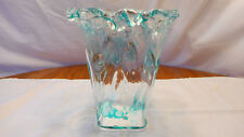 Beautiful Mid Century Modern Blown Crystal Art Glass Vase by Adam Jablonski