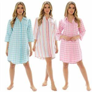 Womens Ladies Nightshirts Cotton Button Front Boyfriend Nightie Check Nightdress