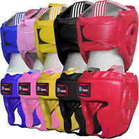 Leather Kids Boxing Head Guard Gear Martial Arts Junior / Children