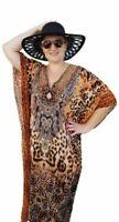 Leopard Embellished Kaftan Animal Print/ Jewelled Caftan Dress Leopard AU 12-20